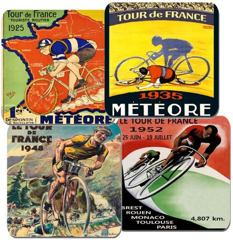 Vintage Tour De France Poster Coasters Set Of 4. High Quality Cork Drink Coaster